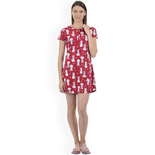 Sweet Dreams Red & White Printed Nightdress 200678-AOP-6
