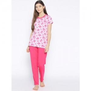 Kanvin Women Pink Printed Night Suit MJKSS19124A