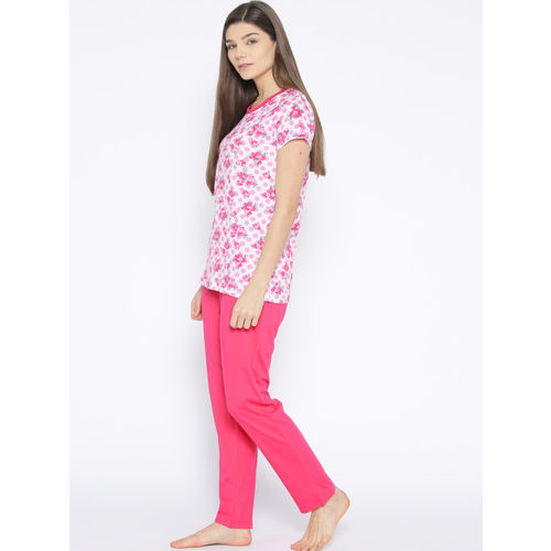 Kanvin Women Pink Printed Night Suit MJKSS19124A