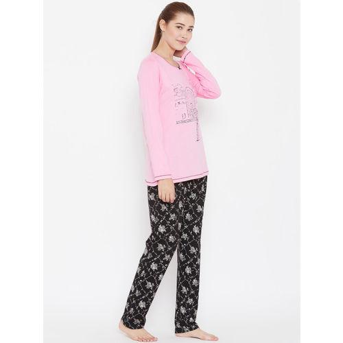 4cdf3bafca Buy Kanvin Women Pink & Black Printed Night Suit online | Looksgud.in
