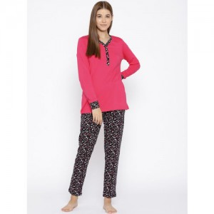 Kanvin Women Magenta & Black Solid Night suit MJKAW18417A
