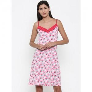 Kanvin Pink & Red Floral Print Nightdress KSS17189B