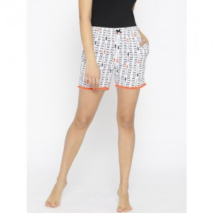 Sweet Dreams Women White & Black Printed Lounge Shorts LB-300918CA