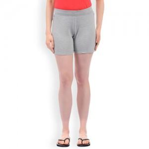 Sweet Dreams Women Grey Melange Solid Regular Lounge Shorts LB-300518