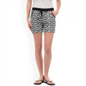 Sweet Dreams Women Grey Melange Printed Lounge Shorts LB-300718