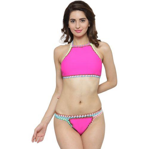 N-Gal Pink Handmade Crochet Neoprene Tankini Swimsuit Solid Women's Swimsuit