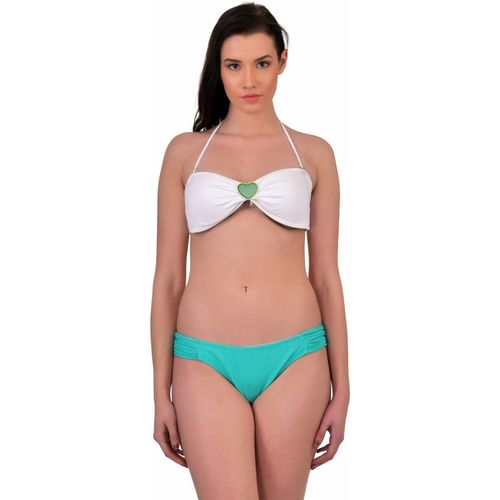 N-Gal Heart Embellishment Bikini Top and Ruched Bottom Solid Women's Swimsuit