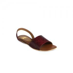 20Dresses Women Maroon Solid Synthetic Open Toe Flats