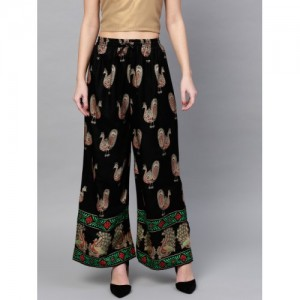 Ishin Black & Gold-Toned Viscose Printed Flared Palazzos