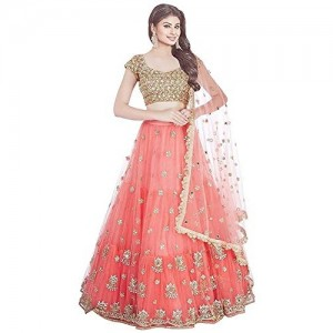 Fast Fashions Orange Embroidered Semi Stitched Lehenga Choli With Blouse Piece