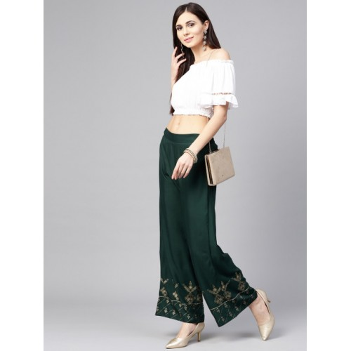 W Green Rayon Hem Design Straight Palazzos