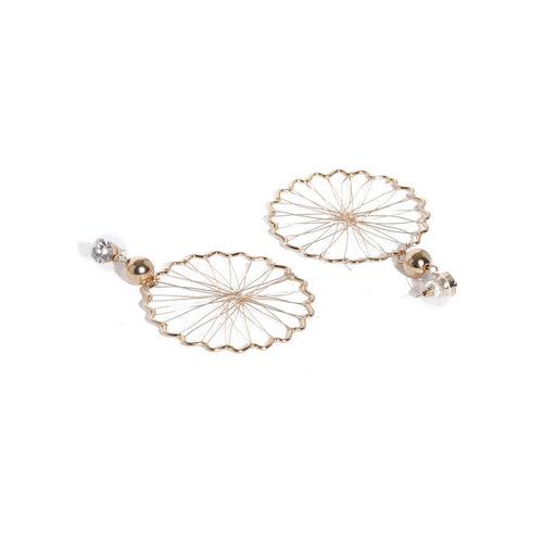 Sukkhi Gold-Toned Circular Drop Earrings
