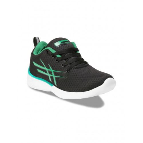 Columbus Green & Black Mesh Lace Up Running Shoes
