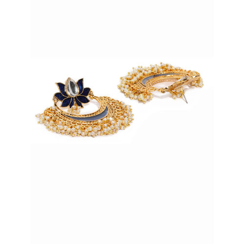 Zaveri Pearls Gold-Toned & Blue Crescent Shaped Chandbalis