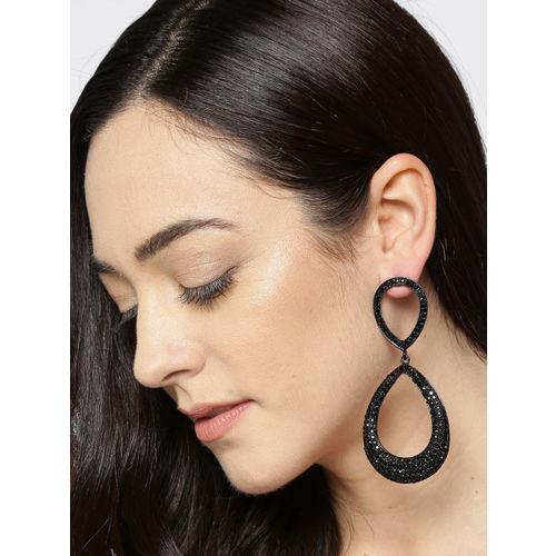 Jewels Galaxy Black Copper-Plated Handcrafted Teardrop Shaped Drop Earrings