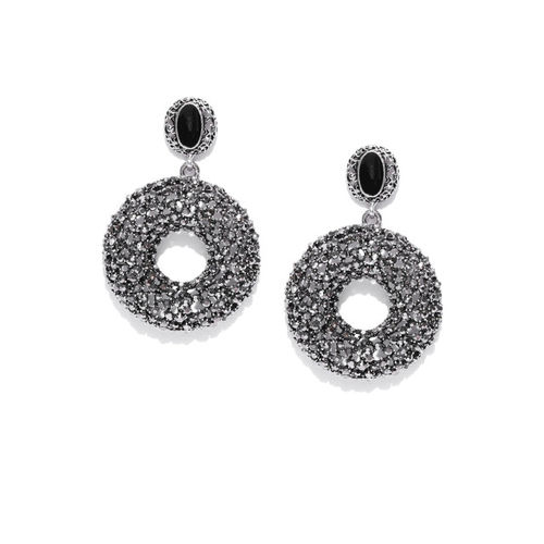 Jewels Galaxy Black Oxidised Silver-Plated Handcrafted Circular Drop Earrings