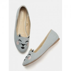 DressBerry Blue Canvas Embroidered Casual Ballerinas