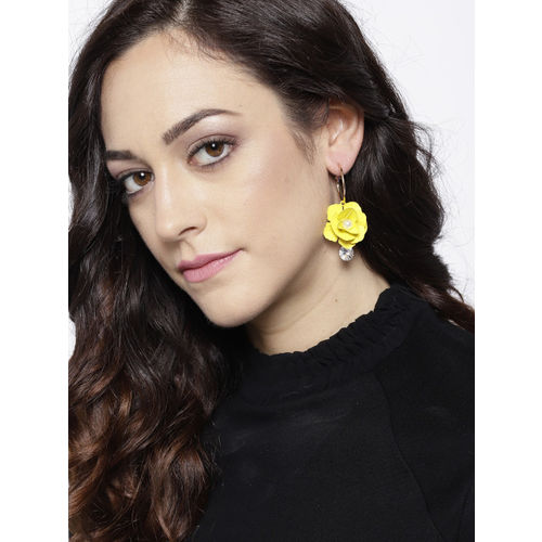 Jewels Galaxy Yellow Gold-Plated Handcrafted Floral Drop Earrings