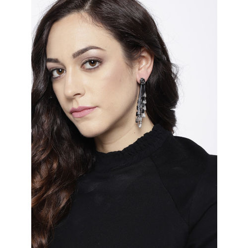 Jewels Galaxy Grey & Black Silver-Plated Beaded Handcrafted Contemporary Drop Earrings