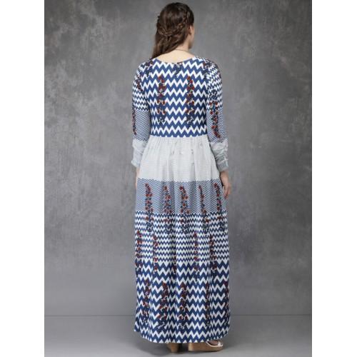 Anouk White & Blue Rayon Printed A-Line Kurta