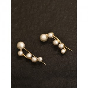Pipa Bella White & Gold-Toned Circular Drop Earrings