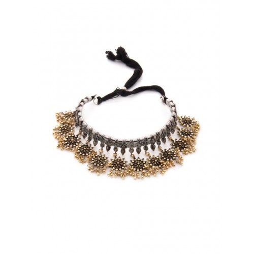 Rubans Gold Alloy Oxidised Necklace