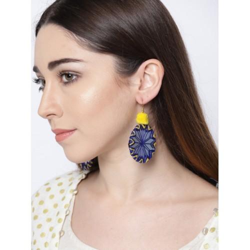 Tarbiya Kraft Navy & White Circular Drop Earrings