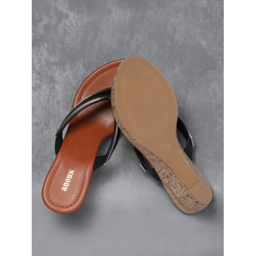 Anouk Black & Tan Synthetic Textured Wedges Chappal