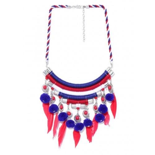 Tarbiya Kraft Red & Blue Pom-Pom Feather Necklace