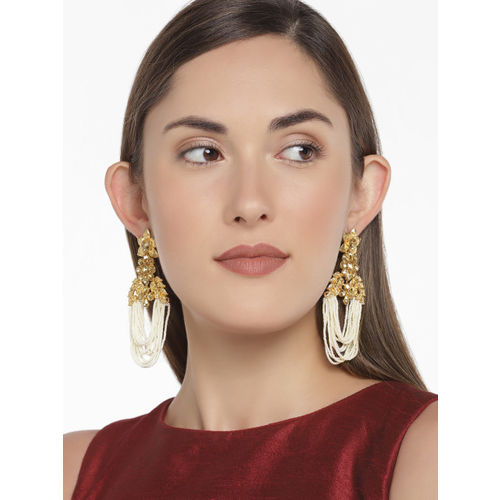 Zaveri Pearls Gold-Plated & White Contemporary Drop Earrings