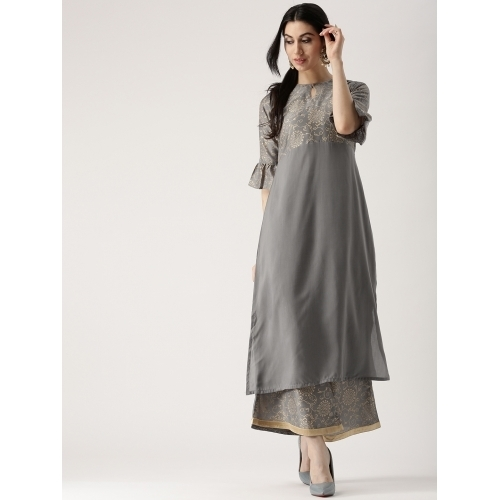 Libas Grey Cotton Printed Palazzo Kurta Set