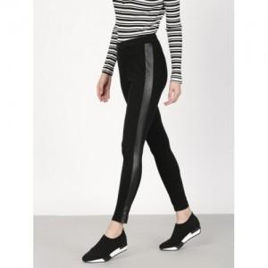 Ether Black Polyurethane Solid Leggings
