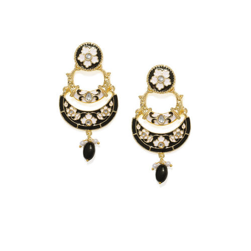 Zaveri Pearls Gold-Plated & Black Crescent Shaped Chandbalis