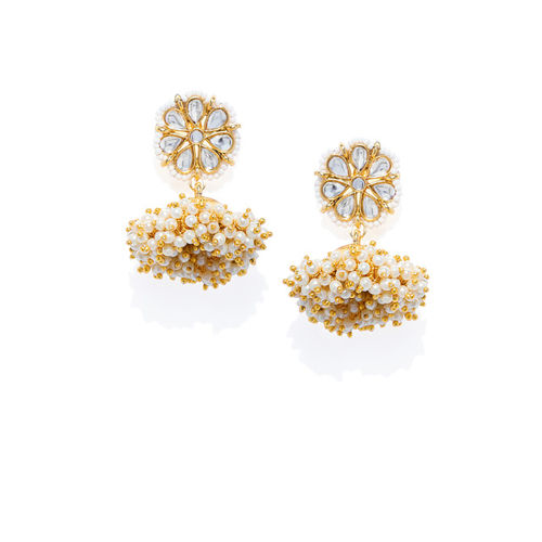 Zaveri Pearls Gold-Plated Classic Jhumkas