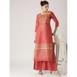 Libas Orange Cotton Printed Kurta with Palazzos