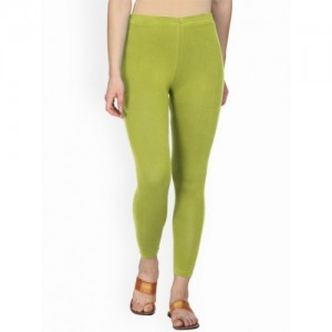 Alena Green Solid Ankle-Length Leggings