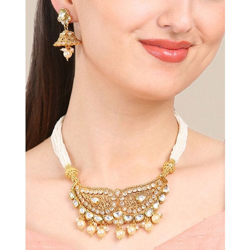 570fc309de2a4 Buy Rubans Gold-Plated Traditional Kundan Pearl Necklace Set online ...