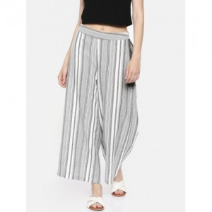 Melange by Lifestyle Grey & White Cotton Striped Flared Palazzos