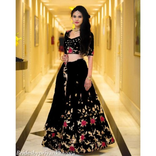 FoogFeb Black Silk & Net Embroidered Lehenga, Choli