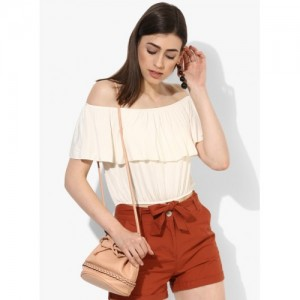 FOREVER 21 Cream Rayon Solid Layered Bardot Top