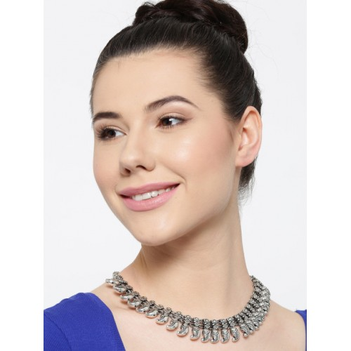 PANASH Silver-Plated Oxidised Collar Necklace