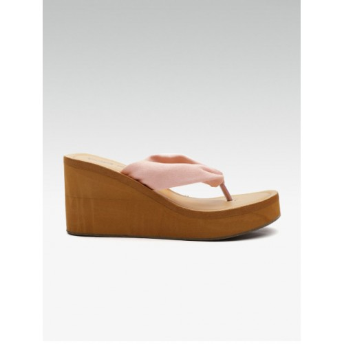 Street Style Store Pink Synthetic Solid Heels Chappal