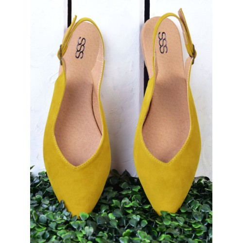 Street Style Store Mustard Yellow Synthetic Solid Sandal
