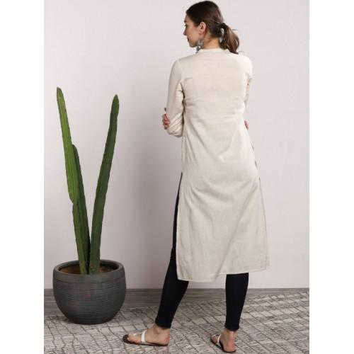 Sangria Grey & Off-White Cotton Dyed Straight Kurta