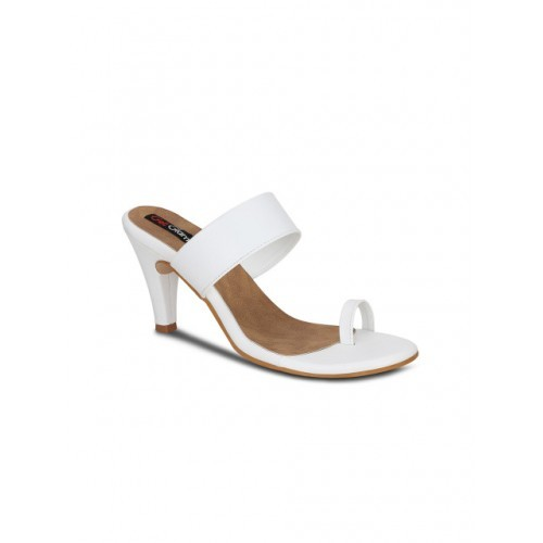 Get Glamr White Synthetic Slip-On Solid Slim Heels