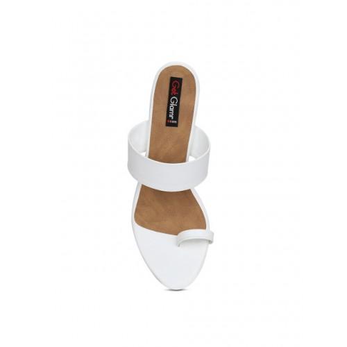 Get Glamr White Synthetic Slip-On Solid Slim Heels