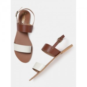 Roadster Brown & White Synthetic Colourblocked Open Toe Flats Sandals