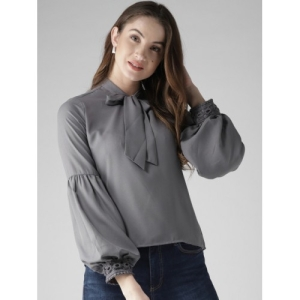 Style Quotient Grey Polyester Bishop Sleeves Solid Top