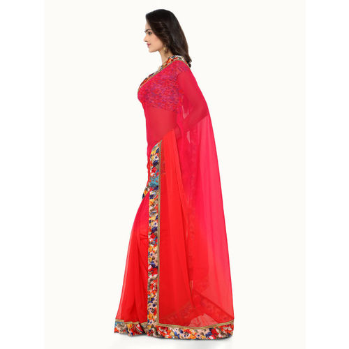 Silk Bazar Red Printed Poly Georgette Saree