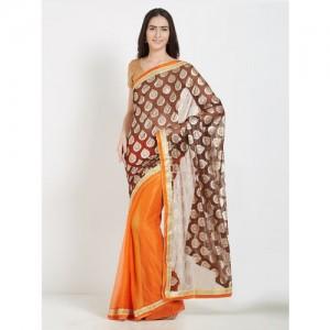 Florence Brown & Orange Net Woven Design Saree